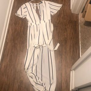 White black striped jumpsuit with shorts
